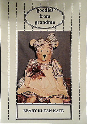 Bear Doll Pattern Cleaning Beary Klean Kate 12 16 inch Goodies From Grandma c133