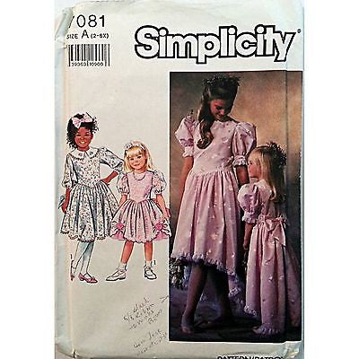 Girls Dress Two Lengths Trim Variations Simplicity 7081 Pattern 1990 Size 3 c874
