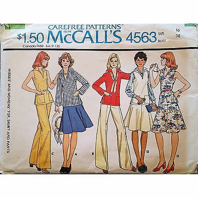 Misses Top Skirt Pants McCalls 4563 Pattern Vintage 1975 Size 16 c1213
