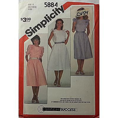 Misses Pullover Dress Sleeves Simplicity 5884 Vintage Pattern Size 8 10 12 c454