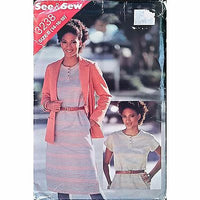 Misses Jacket Dress Butterick 3238 Pattern Vintage 1980s Size 14 16 18 c1380