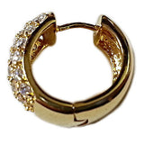 Pave Set Hoop Earrings 24k Yellow Gold Plated Cubic Zirconia Fashion e887g