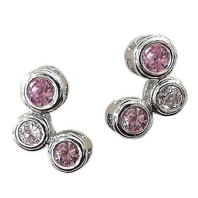 Pink Bubble Earrings 925 Sterling Silver Cubic Zirconia Designer Inspired e852sp