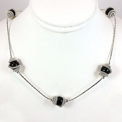 "Wrapped Bead String Necklace Silver Plated 16"" Black n271s"