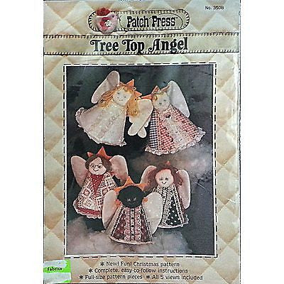 Tree Top Angel Pattern Christmas Holiday Doll Vintage Patch Press c212