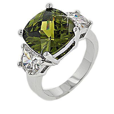 Olive Green Cushion Cocktail Ring White Gold Plated Cubic Zirconia r009so