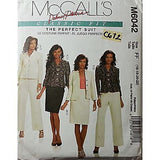 Misses Lined Jackets Skirt Pants Suit McCalls M6042 Pattern 16 18 20 22 c672