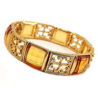"Yellow Stretch Bracelet Filigree Cross Faceted Faux Citrine 7"" Gold Tone b074"