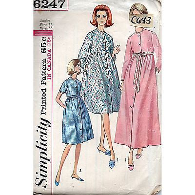 Juniors Robe Two Lengths Simplicity 6247 Pattern Vintage 1965 Size 13 c643