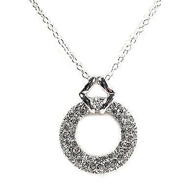 Pave Circle Pendant Sterling Silver White Cubic Zirconia Necklace Fashion n324s
