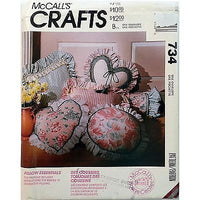 Pillow Essentials Pattern McCalls 734 Crafts Vintage 1992 Heart Neckroll c1057