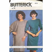 Misses Dress Shawl Butterick 6110 Pattern Vtg 1980s Ellen Tracy Size 16 c1371