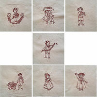 Embroidered Quilt Blocks Christmas Redwork Lot of 4 Vintage Style Girl Boy q101