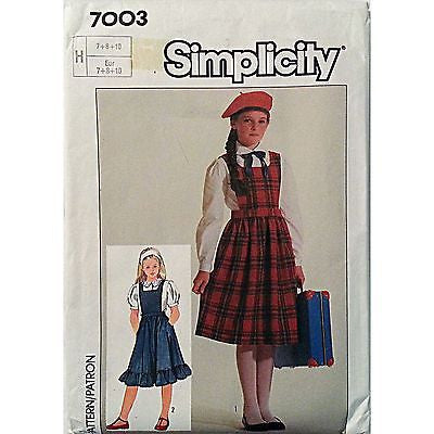 Girls Easy to Sew Jumper Blouse Simplicity 7003 Vintage Pattern Size 7 8 10 c863