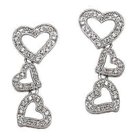 Stacked Heart Drop Earrings Silver Plated Pave Set White Cubic Zirconia e314s