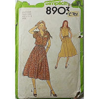 Misses Dress Tie Belt Simplicity 8903 Vintage Pattern 1979 Size 6 8 c701
