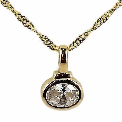 "Solitaire Pendant Necklace Oval Cut 16"" 24k Gold Plate Cubic Zirconia n205g"