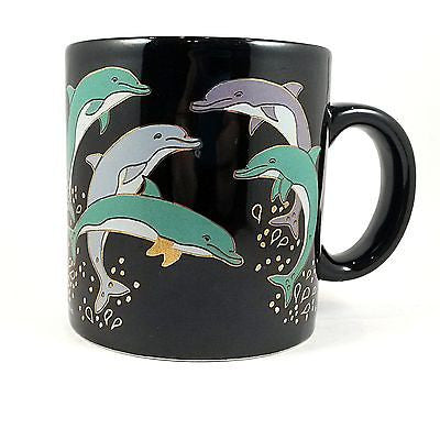 Playful Dolphins Coffee Mug Cup Vintage 12oz Black Gold Accents k341