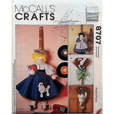 "Broom Dolls Pattern McCalls 8707 1997 32"" 36"" Cat Rabbit Joanne Beretta c1056"