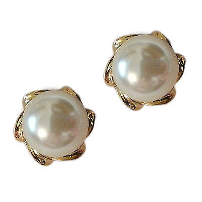Swirl Faux Pearl Earrings Studs 24k Yellow Gold Plated Cream Fashion e212g