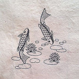 Embroidered Quilt Blocks Koi Fish Asian Lot of 4 Bluework Blue q108