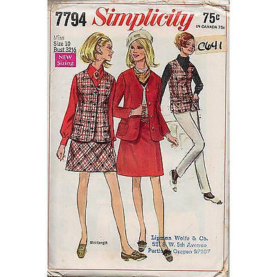 Misses Mini Skirt Jacket Vest Simplicity 7794 Pattern Vintage 1968 Size 10 c641