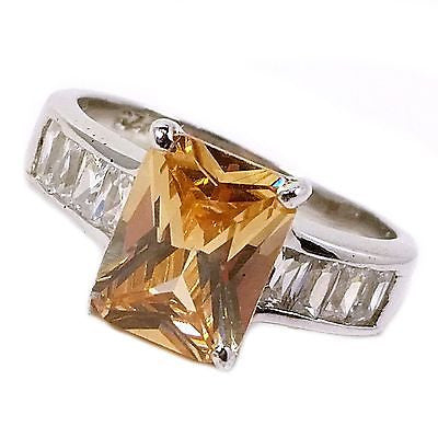 Orange Cocktail Ring Sterling Silver Cubic Zirconia Emerald-Cut