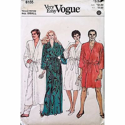 Unisex Robe Vogue 8155 Pattern Vintage Size Small Petite Mens Misses c1267