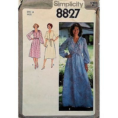 Misses Dress Two Lengths Belt Pattern Simplicity 8827 Vintage 1978 Size 14 c1027