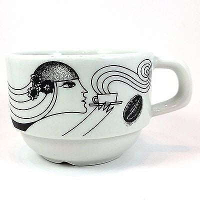 Art Deco Woman Demitasse Cup Coffee Beans Mug 5oz Vitreous China Brazil k398