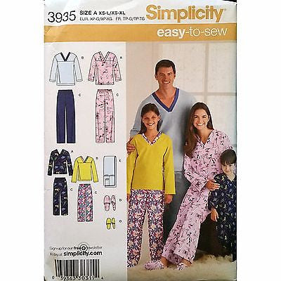 Unisex Sleepwear Pants Top Slippers Simplicity 3935 Pattern 2006 Size XS-L c1493