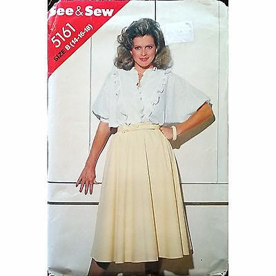 Misses Blouse Skirt Butterick 5161 Pattern Vintage 1980s Size 14 16 18 c1361