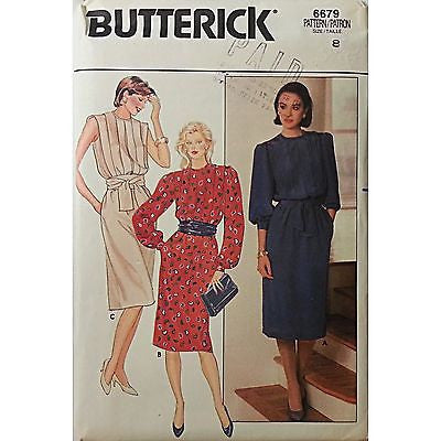 Misses Pullover Dress Butterick 6679 Pattern Vintage Size 8 Sewing c433