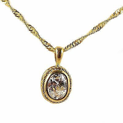 "Solitaire Pendant Necklace Oval Cut 16"" 24k Gold Plate Cubic Zirconia n116g"