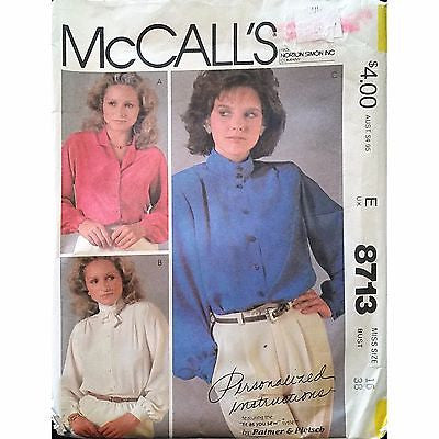 Misses Buttoned Blouses McCalls 8713 Pattern Vintage 1983 Size 16 Retro c1379