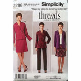 Misses Jacket Pants Skirt Cardigan Simplicity 2288 Pattern 2010 Size 12-16 c1088