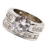 Wedding Ring Set Cubic Zirconia White Gold Plate Size 7 Women Engagement r076