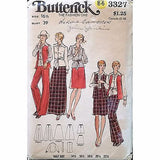 Misses Blouse Vest Skirt Pants Butterick 3327 Pattern Vtg 1970s Size 16.5 c1183