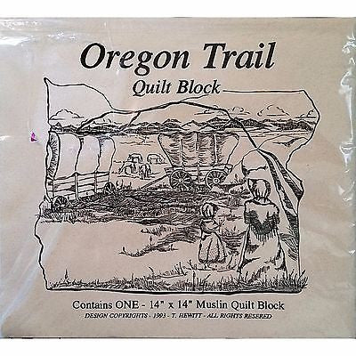 Oregon Trail Quilt Block Printed Muslin 14 x 14 inch Vintage 1993 History c1256