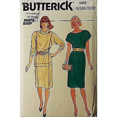 Misses Dress Top Skirt Butterick 6362 Pattern Vintage Size 8 10 12 Sewing c430