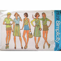 Misses Top Vest Skirt Shorts Simplicity 7529 Pattern Vintage 1976 Size 16 c1382