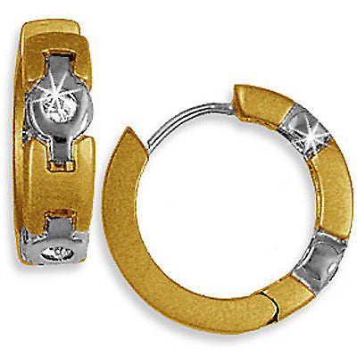 Two-Tone Hoop Earrings Brushed Silver 24k Gold Plated Cubic Zirconia e228t