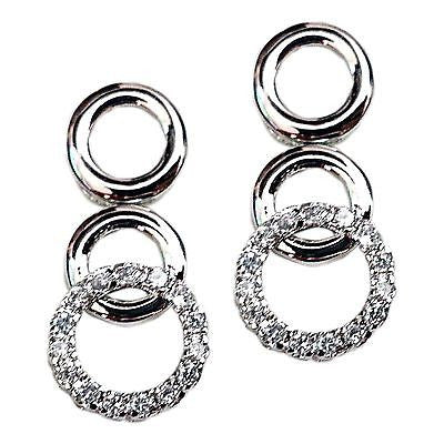 Stacked Circle Earrings Drop Sterling Silver Cubic Zircoinia Designer e806s