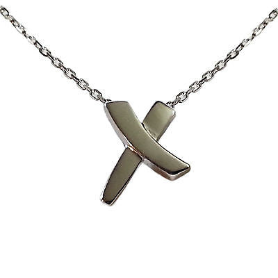 Modern X Pendant Necklace 925 Sterling Silver Cross Designer Fashion n802s