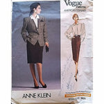 Miss Jacket Blouse Skirt Vogue 1931 Pattern Vtg 1987 Anne Klein Size 12 c1132