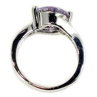 Purple Solitaire Ring White Gold Plated Cubic Zirconia White Accents r065