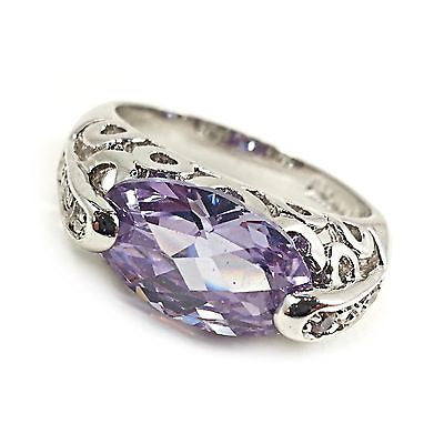 Purple Oval Cocktail Ring Womens Size 9 Openwork Cubic Zirconia Silver Tone r183