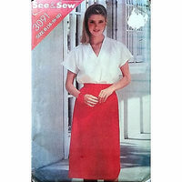 Misses Top Skirt Butterick 3091 Pattern Vintage 1980s Size 14 16 18 c1356