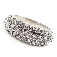 Three Row Cocktail Ring Womens Size 8 Cubic Zirconia Silver Tone Cluster r187