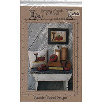 Sewing Mends the Soul Wool Pillow Picture Pattern Wooden Spool Designs c696